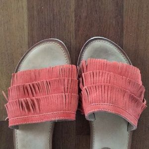 Suede Fringed flats sz 8 rust colored